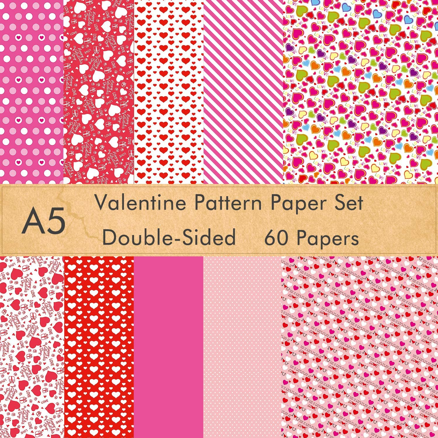 KUUQA 45 Sheets Valentine Pattern Paper Set 8.27 x 11.22 Inches Decorative Paper for Card Making Scrapbook Decoration Valentines Day Supplies 10 Designs