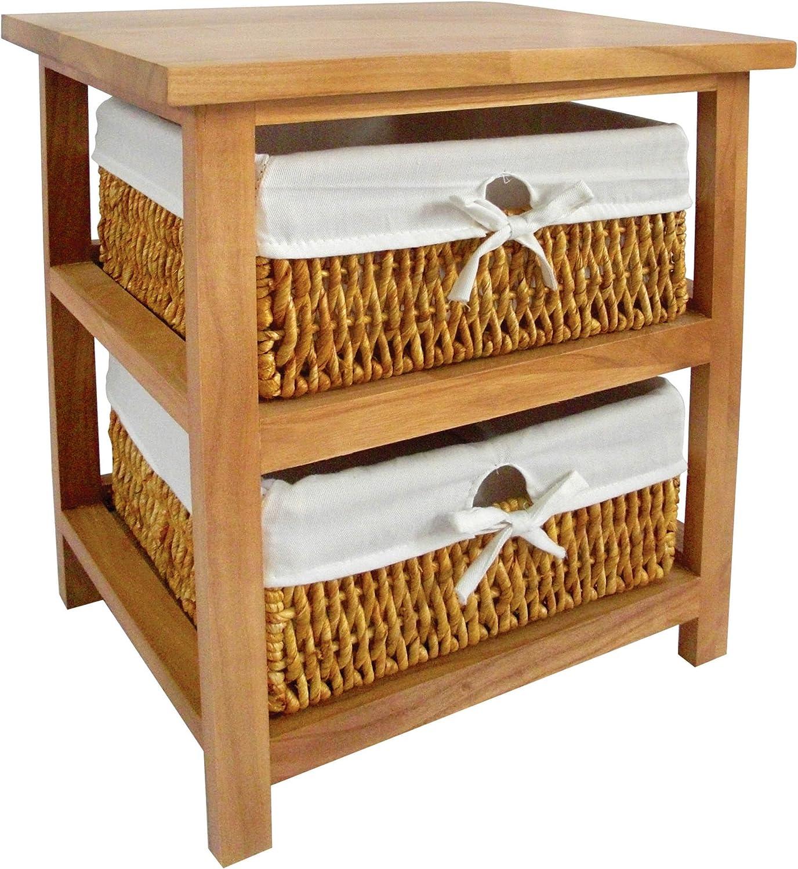 Premier Superior Super intense SALE Housewares Wooden Storage Unit Baskets Maize Nat With 2