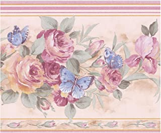 Wall Border - Pink Roses Blue Butterflies Ivory White Wallpaper Border Retro Design, Prepasted Roll 15 ft. x 7 in.