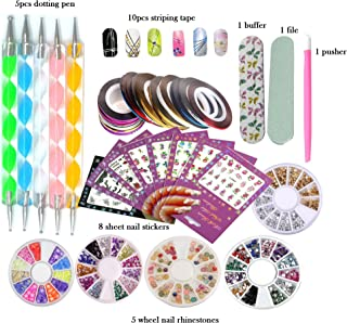 DIY Glitter Nail Rhinestones Decorations Dotting Tool Water Transfer Sticker Decal Nail Line Tape Striping Nails Sanding Buffing File Beauty Accessories Nail Art Set Kit (Style 2)