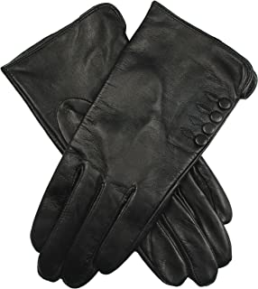 Dents Women's Leather Gloves With Button Detail Piped Cuff And Side Vent Silk Feel Lining