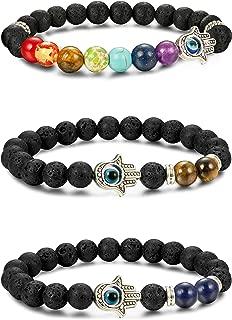 3pcs Evil Eye Bracelet Lava Stone Beads Essential Oil Diffuser Bracelet for Men Women