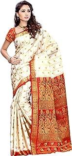 Mimosa Women Kanchipuram Artificial Silk Saree with Contrast Blouse (3166-138-OFFWT)