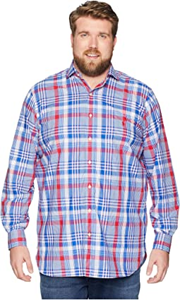Big & Tall Poplin Button Down Spread Estate Collar Pony Player Long Sleeve Sport Shirt
