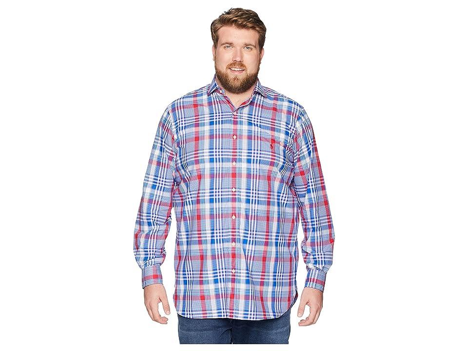 Polo Ralph Lauren Big Tall Poplin Button Down Spread Estate Collar Pony Player Long Sleeve Sport Shirt (Blue/Red Multi) Men
