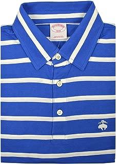 Mens Original Fit Soft Knit Cotton Three Button Polo Shirt Blue White Striped