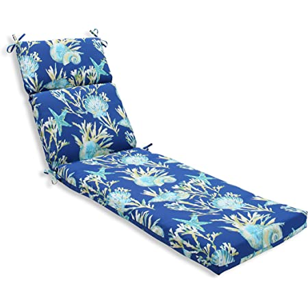 Amazon Com Pillow Perfect Outdoor Indoor Panama Wave Azure Chaise Lounge Cushion 72 5 In L X 21 In W X 3 In D Blue Home Kitchen