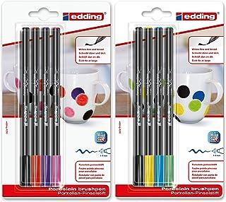 edding 4200 porseleinen penseelstift 4 x standaardkleur en 4 x extra kleur porselein
