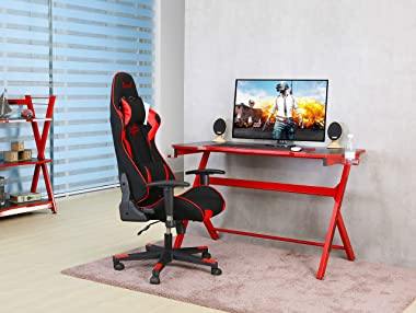 """JJS 48"""" Home Office Gaming Computer Desk, R Shaped Large Gamer Workstation Pc Table with Cup Holder Headphone Hook Free M"""