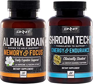 ONNIT Nootropic Stack - Alpha Brain (30ct) + Shroom Tech Sport (84ct)