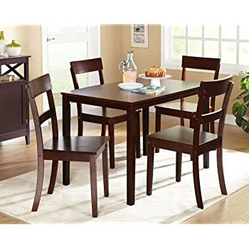 Amazon Com Target Marketing Systems Ian Collection 5 Piece Indoor Kitchen Dining Set With 1 Dining Table 4 Chairs Espresso Furniture Decor