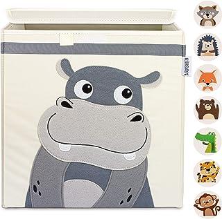 GLÜCKSWOLKE Boite de Rangement Enfant - Hippo I Coffre à Jouet I Caisse Cubes (33x33x33) à Jouets avec Couvercle - Chambre...