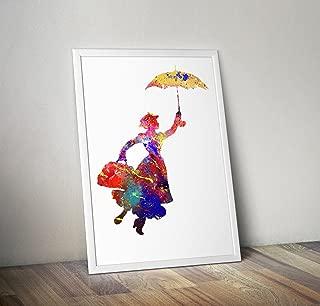 Mary Poppins inspiriert Aquarell Poster Print Geschenke - Alternative TV/Movie Poster in verschiedenen Größen (Rahmen nicht im Lieferumfang enthalten)