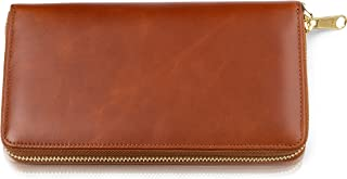 New Item - Leather Travel Wallet for Women - Genuine Leather Clutch with Wristlet, RFID Blocking, Zippered Closure, Only ...