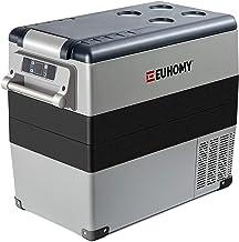 Euhomy Car Refrigerator, 55Liter(59qt) RV Refrigerator with 12/24V DC & 120-240V AC, Portable refrigerator freezer fridge ...