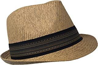 Chapeau Tribe Woven Toyo Fedora with Striped Band Brown