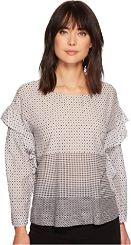 TWO by Vince Camuto - Long Sleeve Quiet Tile Border Ruffled Blouse