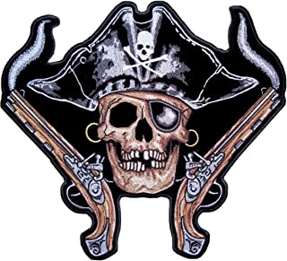 Leather Supreme Pirate Skull Eye Patch Smoking Guns Embroidered Biker Patch-Black-Large