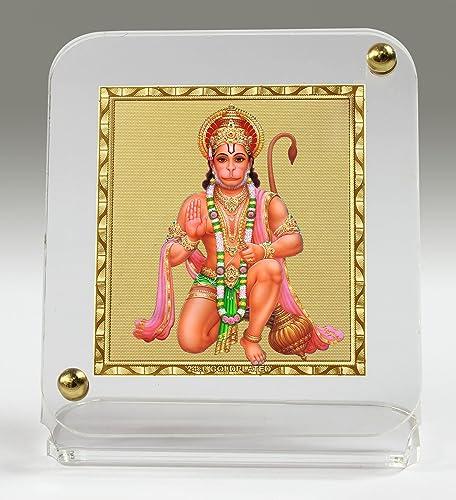 Eknoor Car Dashboard Idol- Goldplated Recta4550- Hanuman Ji With Japa Mala (Prayer Beads)