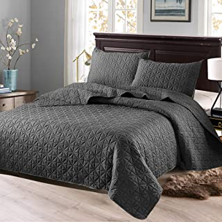 Exclusivo Mezcla 3-Piece King Size Quilt Set with Pillow Shams, as Bedspread/Coverlet/Bed Cover(Solid Steel Grey) - Soft, Lightweight, Reversible& Hypoallergenic