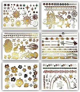 Terra Tattoos Tropical Hawaiian Metallic Tattoos - 75 Gold Silver Temporary Tattoos