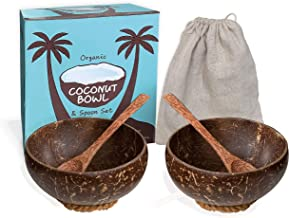 EMRSTORES Organic Coconut Bowls and Wooden Spoons Set - Set of 2 Wooden Bowls Polished With Coco Oil - Vegan Gift Bowls- S...