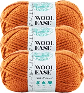 (3 Pack) Lion Brand Yarn 640-133A Wool-Ease Thick and Quick Yarn, 97 Meters, Pumpkin