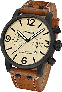 TW Steel Men's Maverick Stainless Steel Quartz Watch with Leather Calfskin Strap, Brown, 0.87 (Model: MS43)