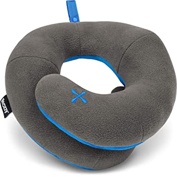 BCOZZY Adults Chin Supporting Travel Pillow- Unique Patented Design Offers 3 Ergonomic Ways to Support The Head, Neck, and Chin When Traveling on Airplane, Car, and at Home. Fully Washable. Gray