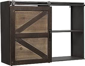 Gallery Solutions 17FW2792A Farmhouse Sliding Barn Door Storage Cabinet Shelf, Silver