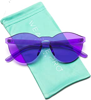 3e33621b73ce2 WearMe Pro - Colorful One Piece Transparent Round Super Retro Sunglasses