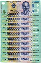 Nice1159 5 Million Dong BANKNOTE = 10 x 500,0000 Dong Vietnam Currency UNC- Rare for Collectors (Only 1 Set Left)