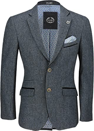Xposed Mens Vintage Wool Blend Tweed Blazer Designer Smart Slim Fit Jacket with Black Elbow Patch [Blue,Chest UK 48 EU 58]