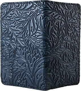 Acanthus Leaf Embossed Genuine Leather Checkbook Cover, 3.5x6.5 Inches, Navy Blue, Made in the USA