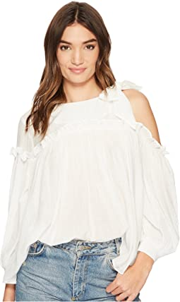 J.O.A. - 3/4 Sleeve Single Side Cold Shoulder Top