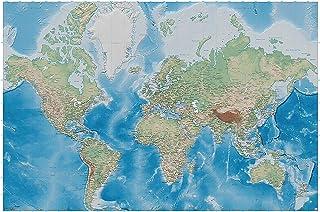 GREAT ART Póster Mapa Mundial – Imagen Mural decoración proyecctión Miller Mapa Globo Mundial la Tierra geográfica con Sus desños relifes | Foto póster Mural Imagen Deco Pared by (140 x 100 cm)