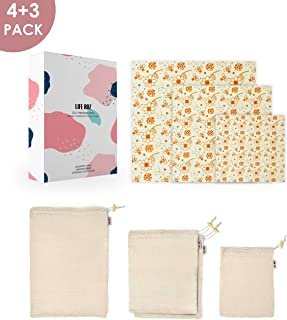 Reusable Produce Mesh Cotton Bags and Beeswax Food Wrap, LifeRoz Eco-friendly free plastic, organic, Biodegradable and sustainable kitchen food storage wrap, contain 7 pack small, medium, large size