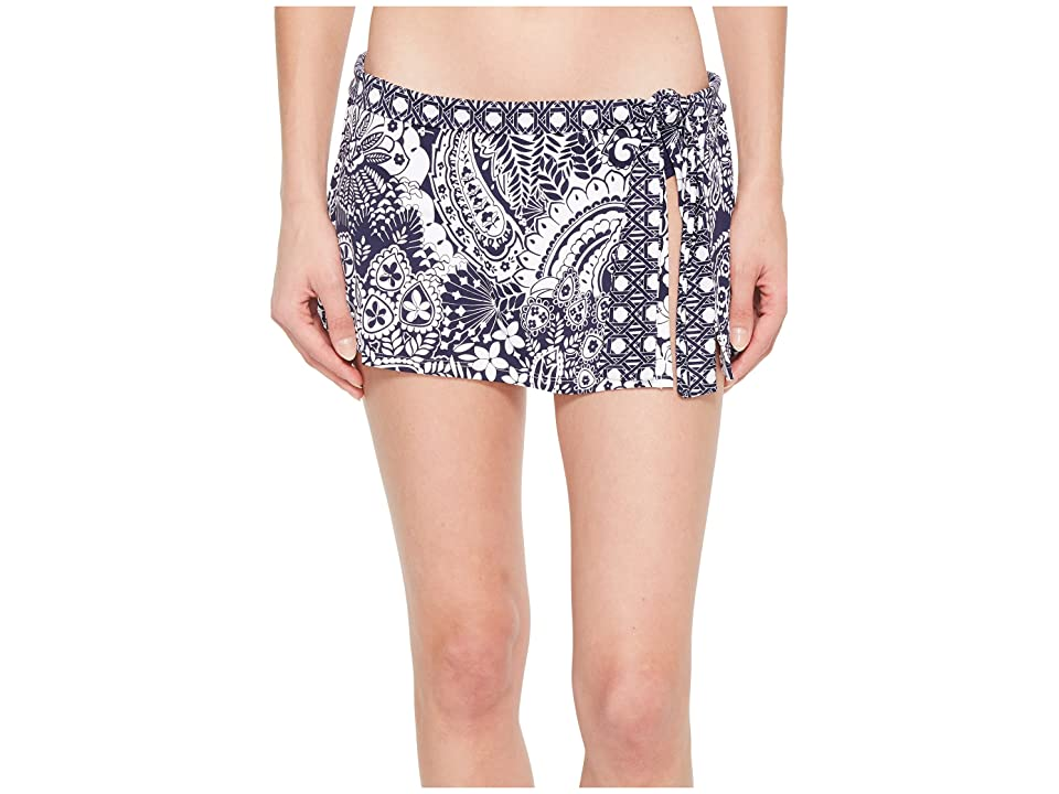 Tommy Bahama Paisley Paradise Skirted Hipster Bikini Bottom (Mare Navy) Women