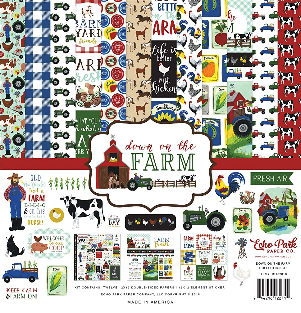 Echo Park Paper Company DO182016 Down On The Farm Collection Kit Paper Blue/Red/Yellow/Green