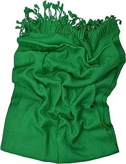 大号女士羊绒披肩围巾,超柔软触感保暖自印纯色长款流苏流苏流苏条纹,羊绒披肩冬季圣诞礼物派对婚礼新娘 71.12x177.8 cm(绿色)