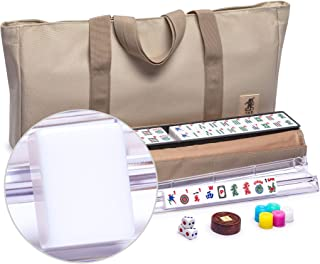 Yellow Mountain Imports American Mahjong Set Easy Reader with Beige Soft Case - 4 All-in-One Racks with Pushers, Dice, & Wright Patterson Scoring Coins