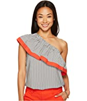 Vince Camuto Specialty Size - Petite Ruffled One-Shoulder Stripe Blouse