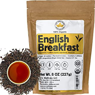 English Breakfast Tea, CRISP, RICH & AROMATIC well-rounded loose leaf tea, 110+ cups, 8oz Organic Ceylon SINGLE ESTATE tea...