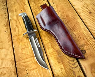 Leather sheath for Buck 119 with belt loop and dangler, hunting knife sheath, big knife holster, custom leather sheath made for Buck fixed blade