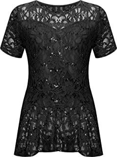 274aa60bd9dd98 WearAll Plus Size Womens Lace Sequin Ladies Short Sleeve Peplum Frill Top -  14-28