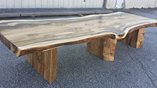 Thick Rainbow Poplar Live Edge Slab Dining or Conference Table, with matching pedestals