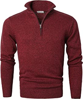 08d4a8951 MOCOTONO Men's Long Sleeve Turtleneck Zip Up Pullover Knit Casual Sweater