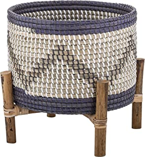Amalfi Rune Planter Pot on Stand Rune Rattan Seagrass Planter Pot Stand,Denim Blue/White/Grey/Natural