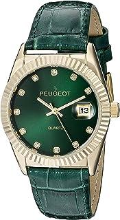 ساعة رسمية باطار حافة عملة معدنية وسوار جلدي للنساء من بيجو