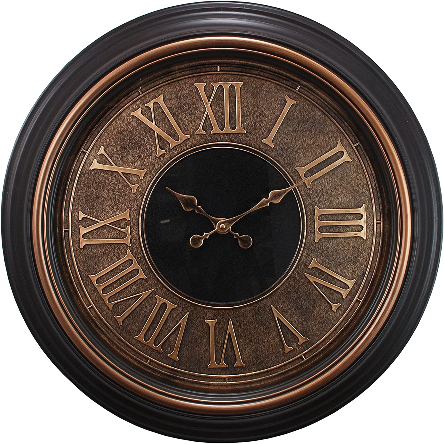 Kiera Grace Genoa Oversized Wall Clock with Raised Roman Numerals, 23-Inch, 2-Inch Deep,  Antiqued Bronze with Copper Bezel